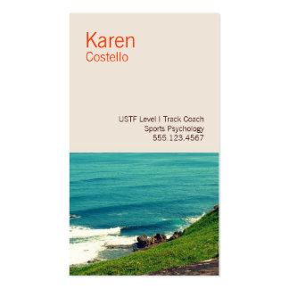 Vista al mar colorida del coche de la vida tarjetas de visita