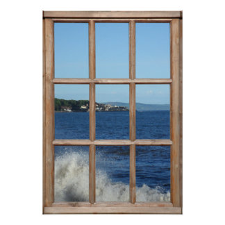 Vista al mar de una ventana con el aerosol de mar poster