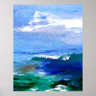 Vista al mar del impresionista del poster del océa
