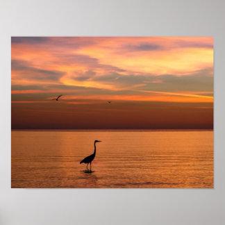 Vista al mar en la puesta del sol póster