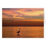 Vista al mar en la puesta del sol tarjeta de felicitación