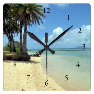Vista al mar escénica hawaiana reloj cuadrado