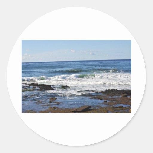 Vista al mar pegatina redonda