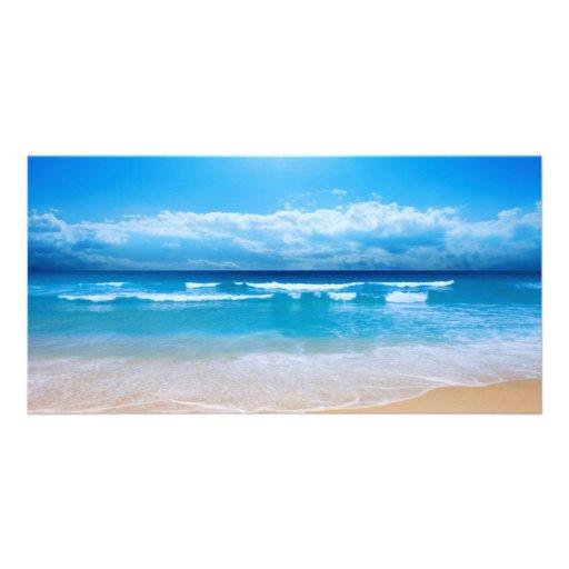 Vista al mar tropical tarjeta fotografica