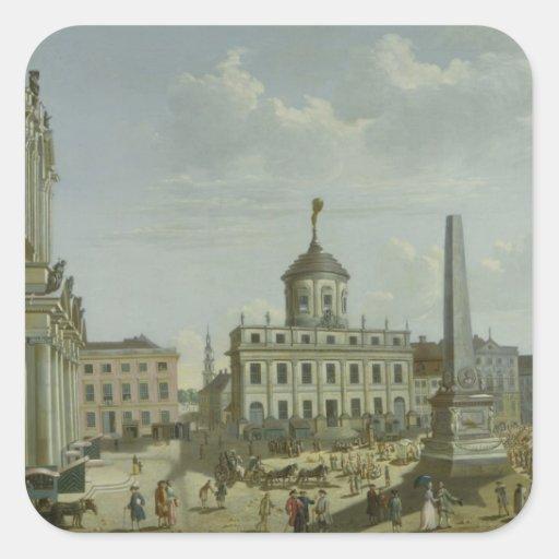Vista ayuntamiento, 1772 calcomanías cuadradas personalizadas
