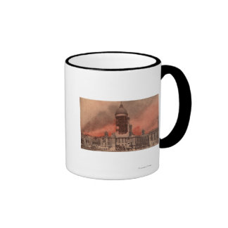 Vista ayuntamiento después del terremoto taza de café