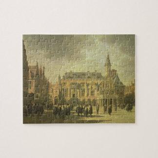 Vista ayuntamiento en la plaza del mercado de Haar Puzzles Con Fotos
