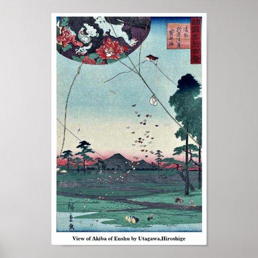 Vista de Akiba de Enshu por Utagawa, Hiroshige Poster