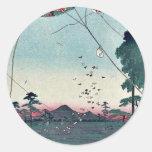 Vista de Akiba de Enshu por Utagawa, Hiroshige Pegatina Redonda