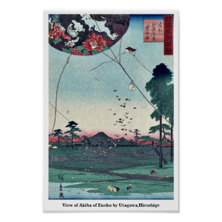 Vista de Akiba de Enshu por Utagawa, Hiroshige Póster