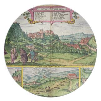 Vista de Alhambra, de 'Civitates Orbis Terrar Plato De Cena