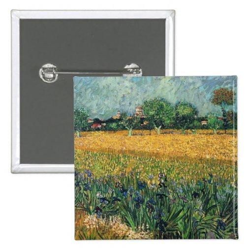 Vista de Arles con la bella arte de Van Gogh de Pin Cuadrada 5 Cm