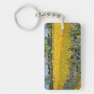 Vista de Arles con la pintura de Vincent van Gogh Llavero Rectangular Acrílico A Doble Cara