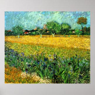 Vista de Arles con los iris en el primero plano Posters