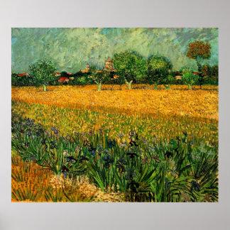 Vista de Arles con los iris en el primero plano Póster