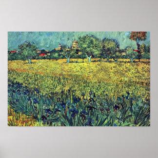 Vista de Arles con los iris en el primero plano, Póster