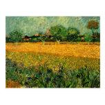 Vista de Arles con los iris en el primero plano Tarjeta Postal