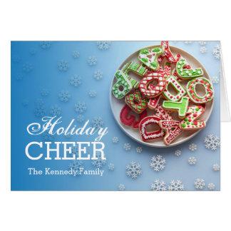 Vista de arriba de la placa del azúcar del navidad tarjeta de felicitación