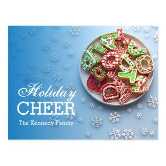 Vista de arriba de la placa del azúcar del navidad tarjetas postales