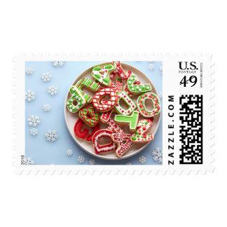 Vista de arriba de la placa del azúcar del navidad timbre postal