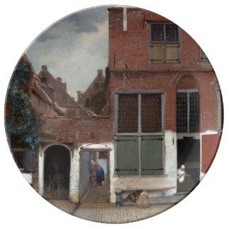 Vista de casas en Delft de Juan Vermeer Plato De Cerámica