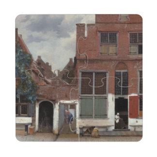 Vista de casas en Delft de Juan Vermeer Posavasos De Puzzle