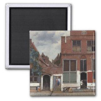 Vista de casas en Delft la pequeña calle Imán Cuadrado