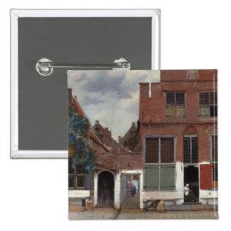 Vista de casas en Delft la pequeña calle Pin Cuadrado