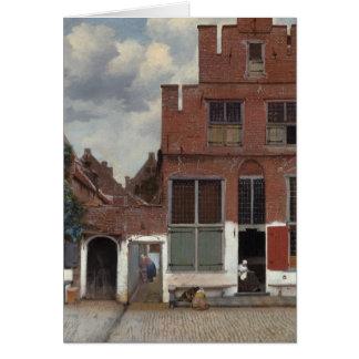 Vista de casas en Delft la pequeña calle Tarjeta De Felicitación