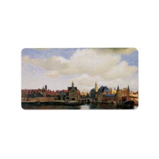 Vista de Delft de Juan Vermeer Etiqueta De Dirección