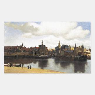 Vista de Delft de Juan Vermeer Rectangular Pegatina