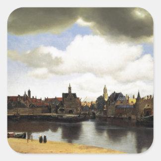 Vista de Delft de Juan Vermeer Pegatina Cuadrada