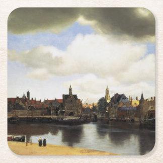 Vista de Delft de Juan Vermeer Posavasos Desechable Cuadrado