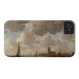 Vista de Dordrecht rio abajo del Grote Kerk, iPhone 4 Carcasas