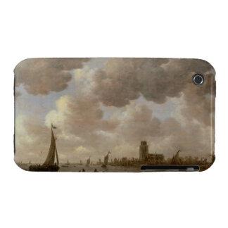 Vista de Dordrecht rio abajo del Grote Kerk, iPhone 3 Case-Mate Coberturas