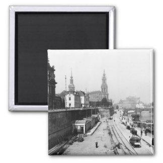 Vista de Dresden del Bruehlsche Terrasse Imán Cuadrado