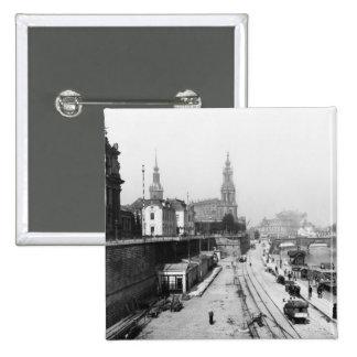 Vista de Dresden del Bruehlsche Terrasse Pin Cuadrado