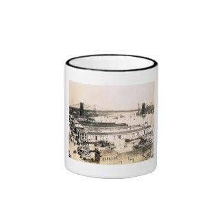 Vista de East River, vintage 1911 de New York City Taza A Dos Colores