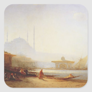 Vista de Estambul, 1864 (aceite en lona) Pegatina Cuadradas Personalizada