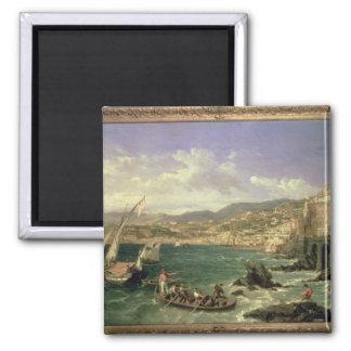 Vista de Génova, 1854 (aceite en lona) Imán Cuadrado