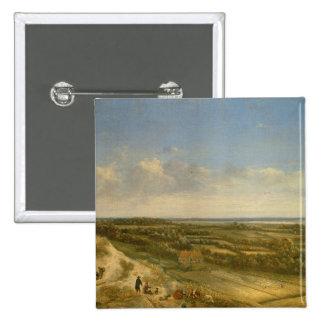 Vista de Haarlem de las dunas (aceite en lona) Pin Cuadrada 5 Cm