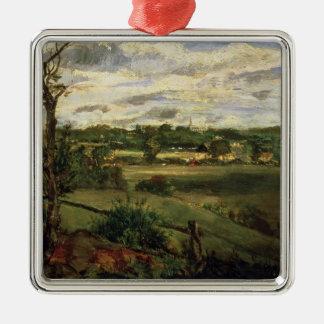 Vista de Highgate del brezo de Hampstead, c.1834 Adorno Navideño Cuadrado De Metal
