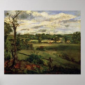 Vista de Highgate del brezo de Hampstead, c.1834 Póster
