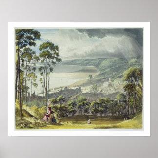 """Vista de Honfleur, de """"opiniónes sobre el Sena"""", e Póster"""