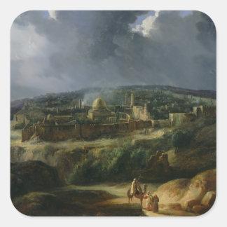 Vista de Jerusalén del valle de Jehoshaphat Pegatina Cuadrada