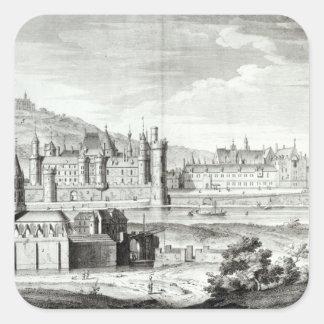 Vista de la abadía de Santo-Germán-DES-Pres Pegatina Cuadrada