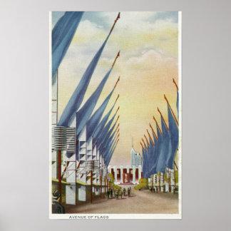 Vista de la avenida de Flags, la feria 1934 de mun Póster