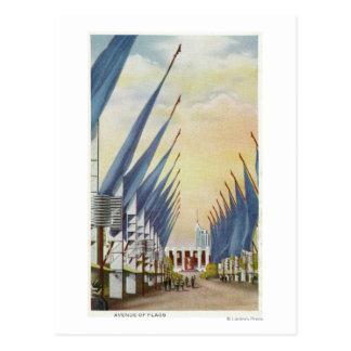 Vista de la avenida de Flags la feria 1934 de mun Postal