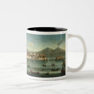 Vista de la bahía de Nápoles de la bahía de Chiaia Taza De Café De Dos Colores