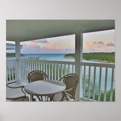 vista de la bahía del balcón póster